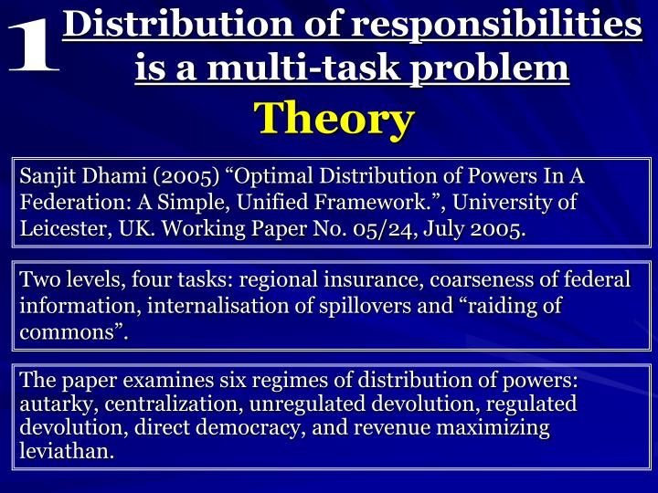 Distribution of responsibilities is a multi task problem