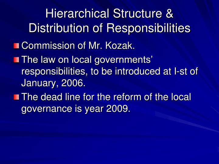 Hierarchical Structure & Distribution of Responsibilities