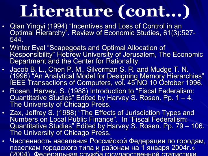Literature (cont...)