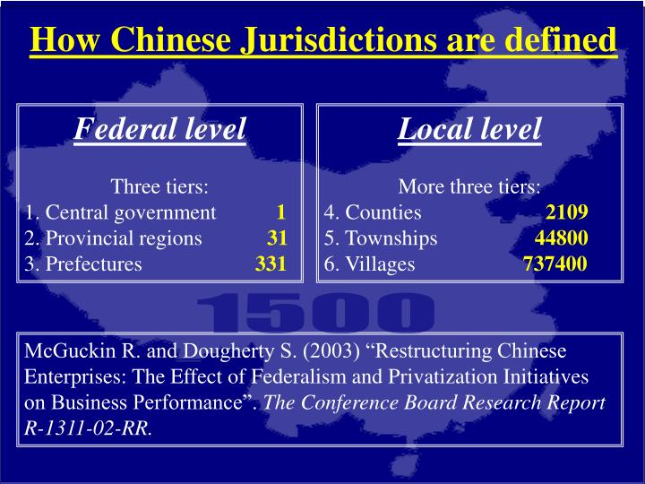 How Chinese Jurisdictions are defined