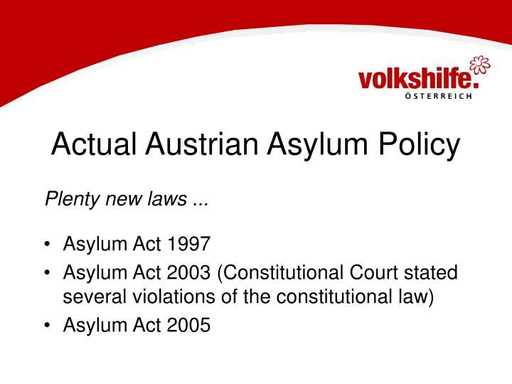 Actual Austrian Asylum Policy