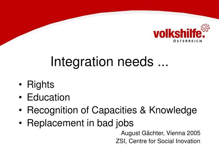 Integration needs ...
