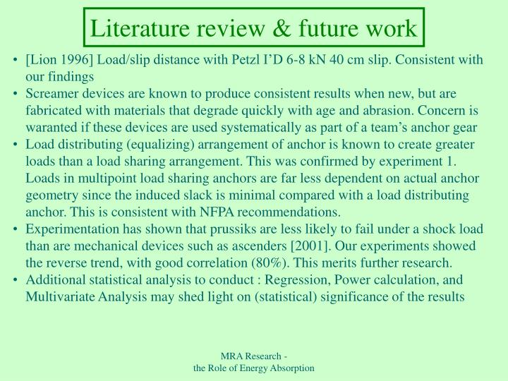 Literature review & future work
