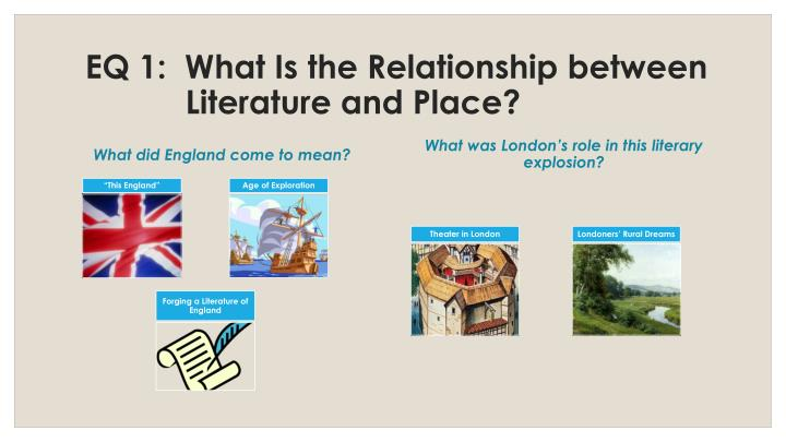 EQ 1:  What Is the Relationship between Literature and Place?