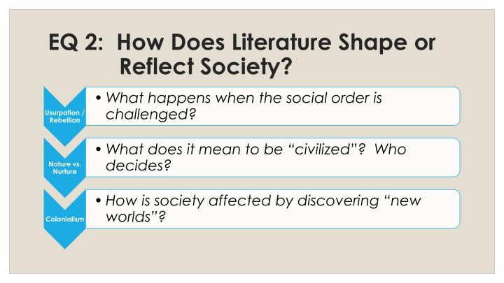 EQ 2:  How Does Literature Shape or Reflect Society?
