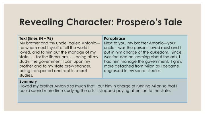 Revealing Character: Prospero's Tale