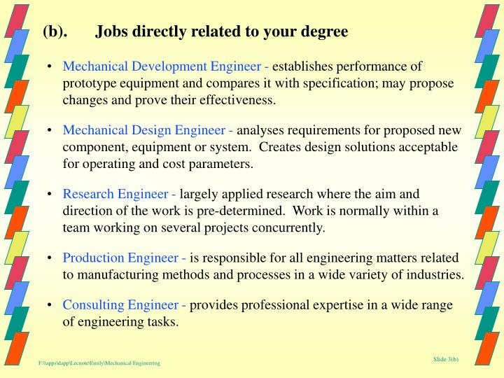 (b).Jobs directly related to your degree