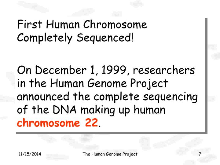 First Human Chromosome Completely Sequenced!