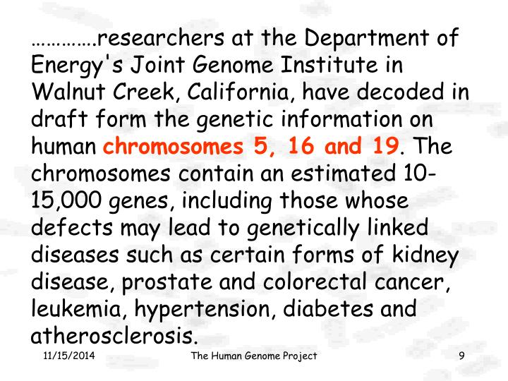 ………….researchers at the Department of Energy's Joint Genome Institute in Walnut Creek, California, have decoded in draft form the genetic information on human