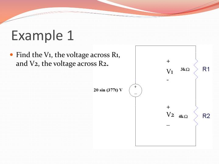 Find the V1, the voltage across R1, and V2, the voltage across R2
