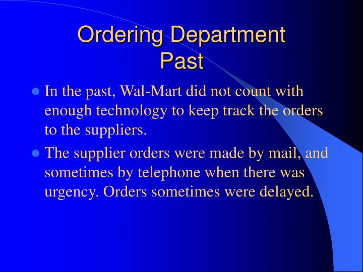 Ordering Department