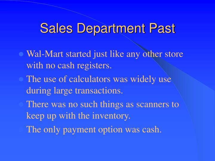 Sales Department Past