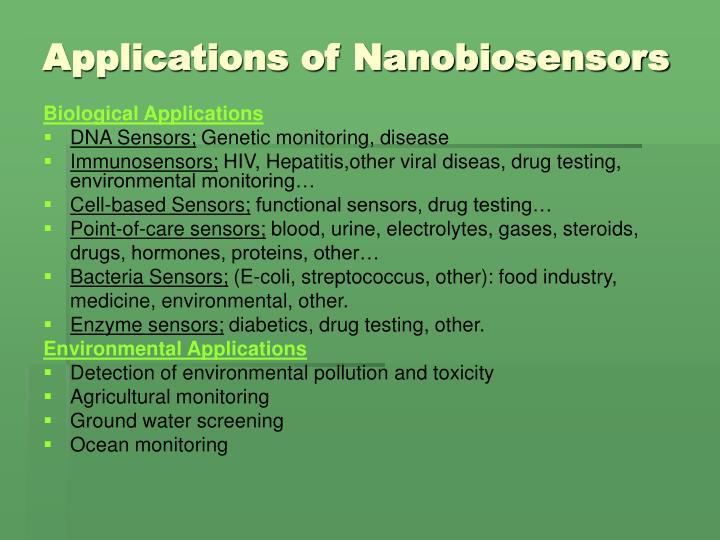 Applications of Nanobiosensors