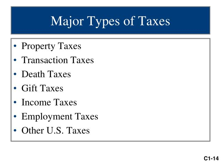 Major Types of Taxes