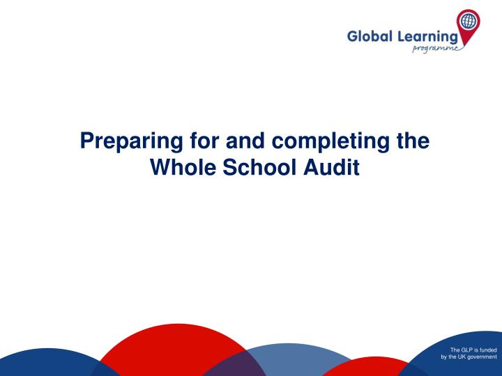 preparing for and completing the whole school audit