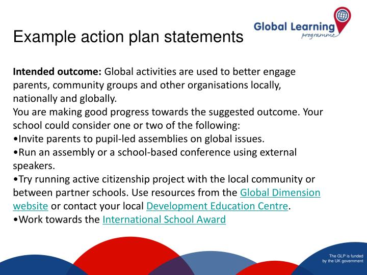 Example action plan statements