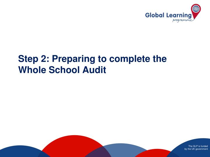 Step 2: Preparing to complete the Whole School Audit