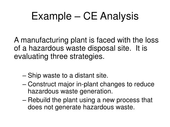 Example – CE Analysis