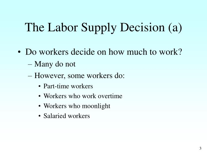 The labor supply decision a