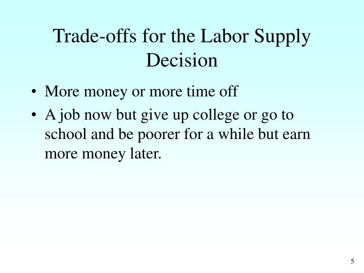 Trade‑offs for the Labor Supply Decision