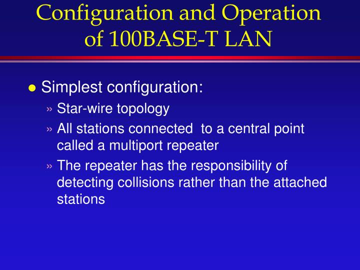 Configuration and Operation of 100BASE-T LAN