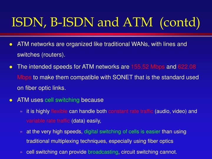 ISDN, B-ISDN and ATM  (contd)