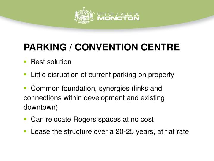 PARKING / CONVENTION CENTRE