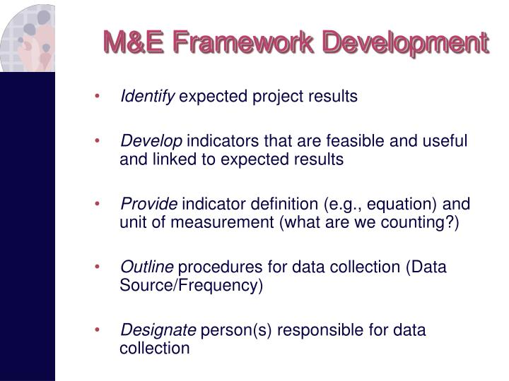 M&E Framework Development