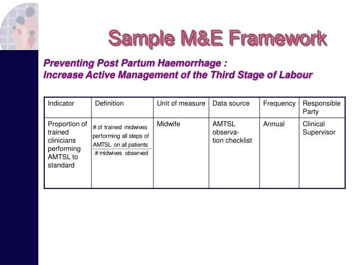 Sample M&E Framework