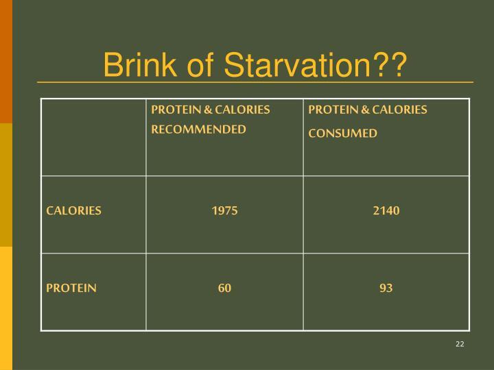 Brink of Starvation??