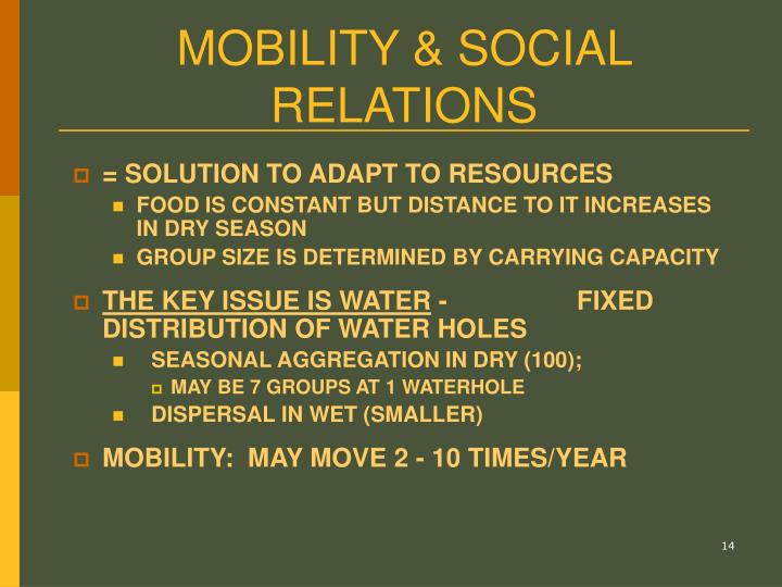 MOBILITY & SOCIAL RELATIONS