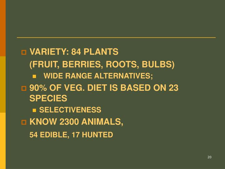 VARIETY: 84 PLANTS