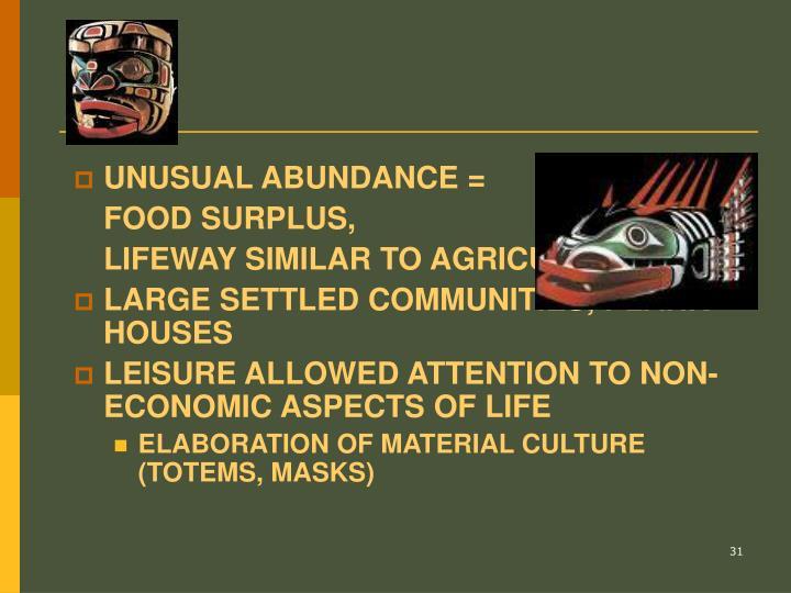 UNUSUAL ABUNDANCE =