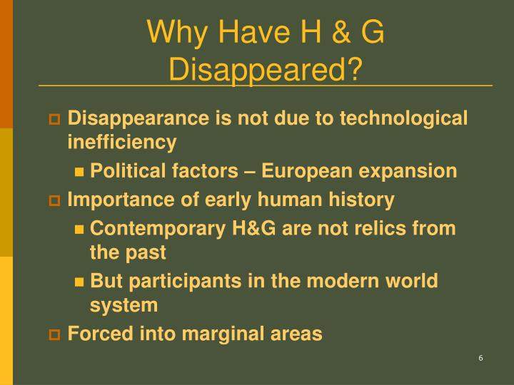 Why Have H & G Disappeared?