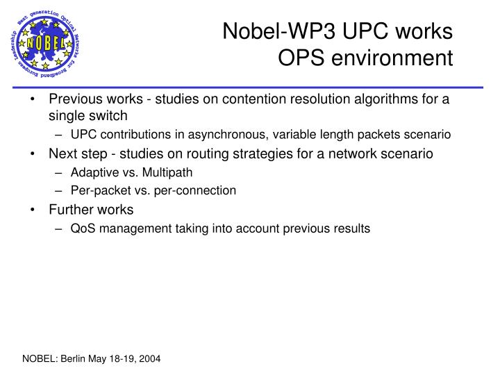 Nobel-WP3 UPC works
