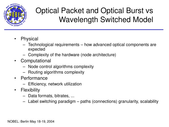 Optical packet and optical burst vs wavelength switched model