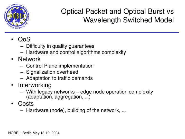 Optical Packet and Optical Burst vs
