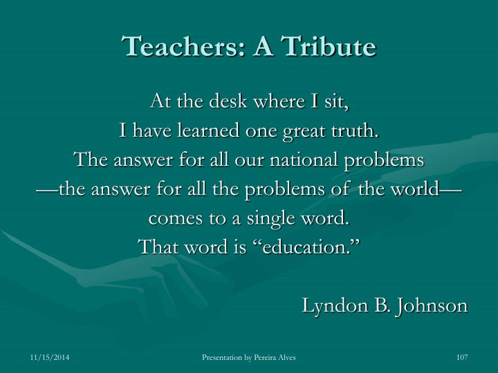 Teachers: A Tribute