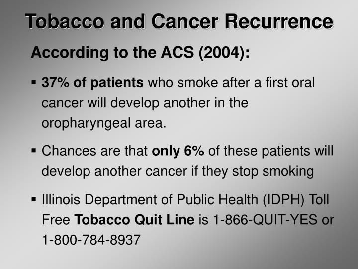 Tobacco and Cancer Recurrence
