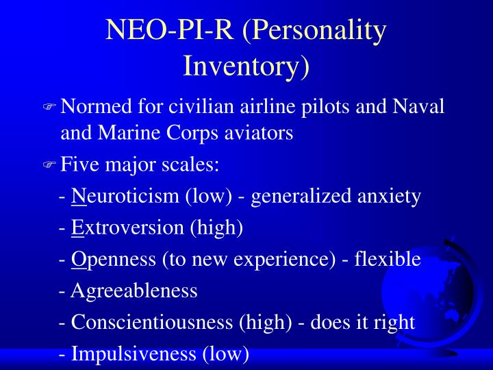 NEO-PI-R (Personality Inventory)