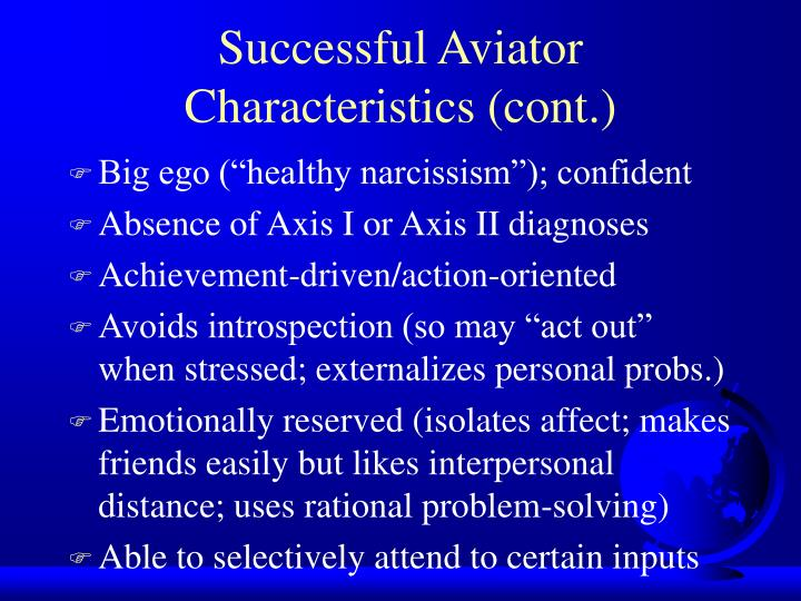 Successful Aviator Characteristics (cont.)