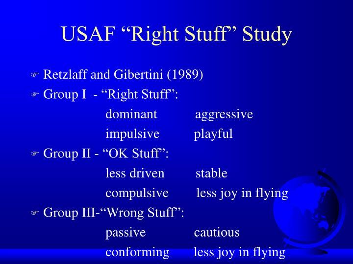 """USAF """"Right Stuff"""" Study"""