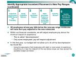 identify appropriate incumbent placement in new pay ranges continued1