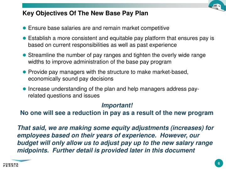 Key Objectives Of The New Base Pay Plan