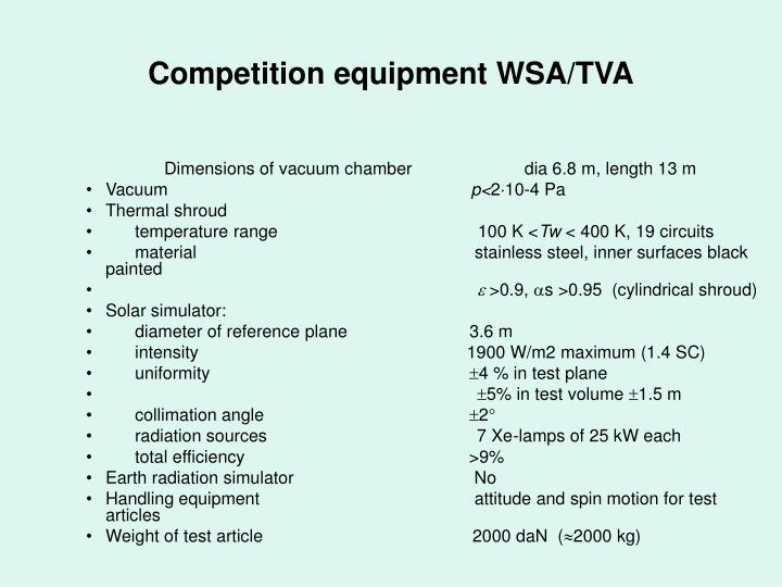 Competition equipment WSA/TVA