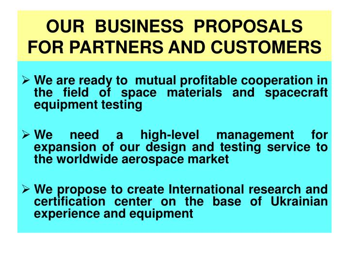 OUR  BUSINESS  PROPOSALS