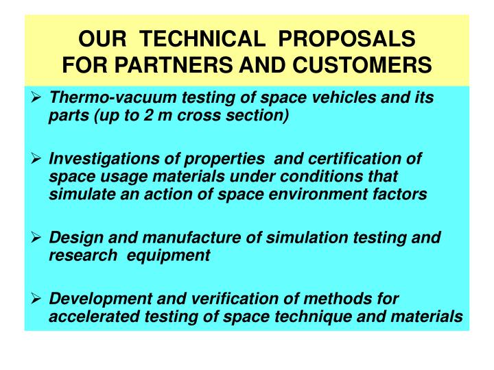 OUR  TECHNICAL  PROPOSALS