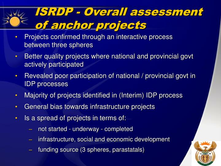 ISRDP - Overall assessment of anchor projects