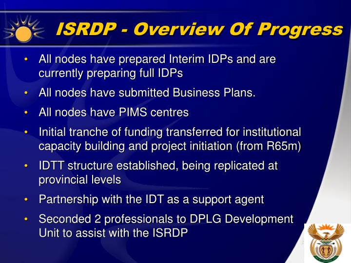 ISRDP - Overview Of Progress