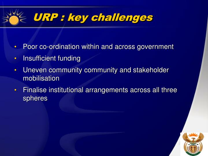 URP : key challenges